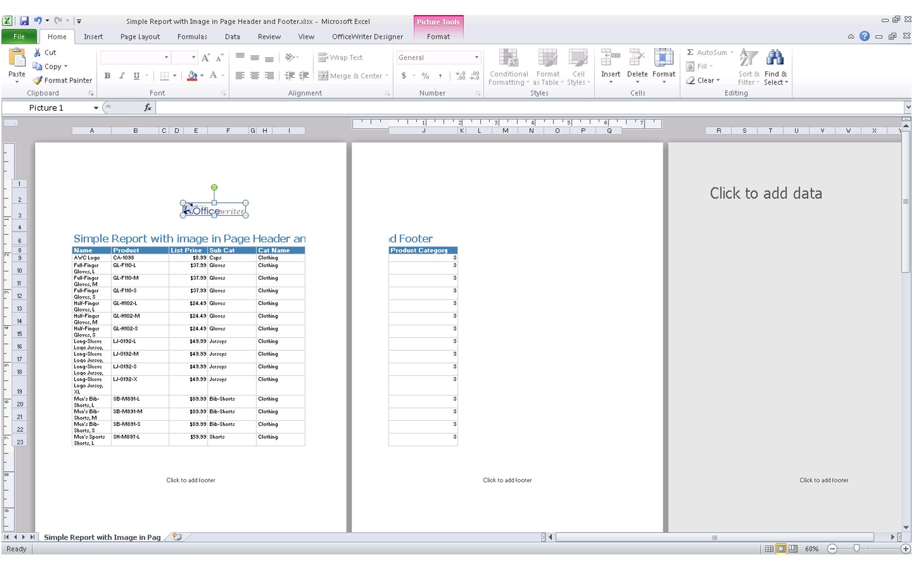 Header footer comparing excel export functionality in ssrs for Html table footer