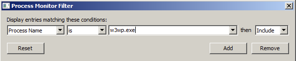 Process is w3wp.exe Rule